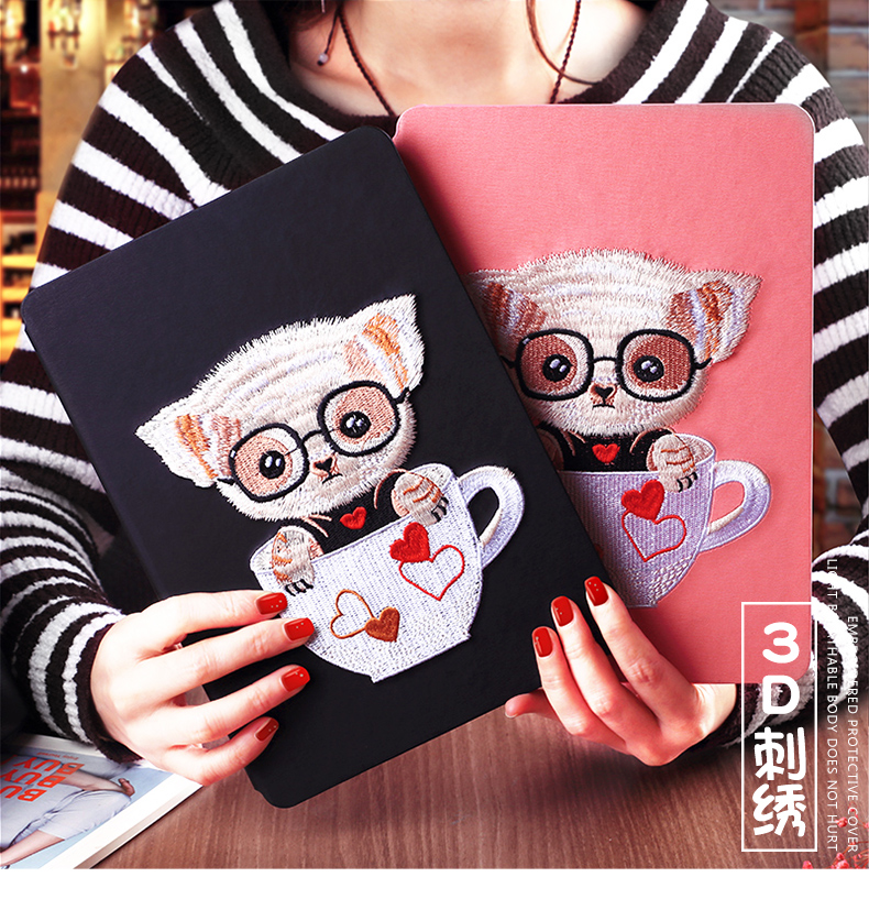 Cute Bear Dog Magnet Flip Cover leather case For iPad Air 9.7 inch tablet Case soft TPU Back cover 3D Embroidery for ipad5 for ipad mini4 cover high quality soft tpu rubber back case for ipad mini 4 silicone back cover semi transparent case shell skin