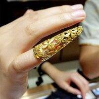 Роскошное чистое 999 24 K кольцо из желтого золота женское полое цветочное свадебное кольцо