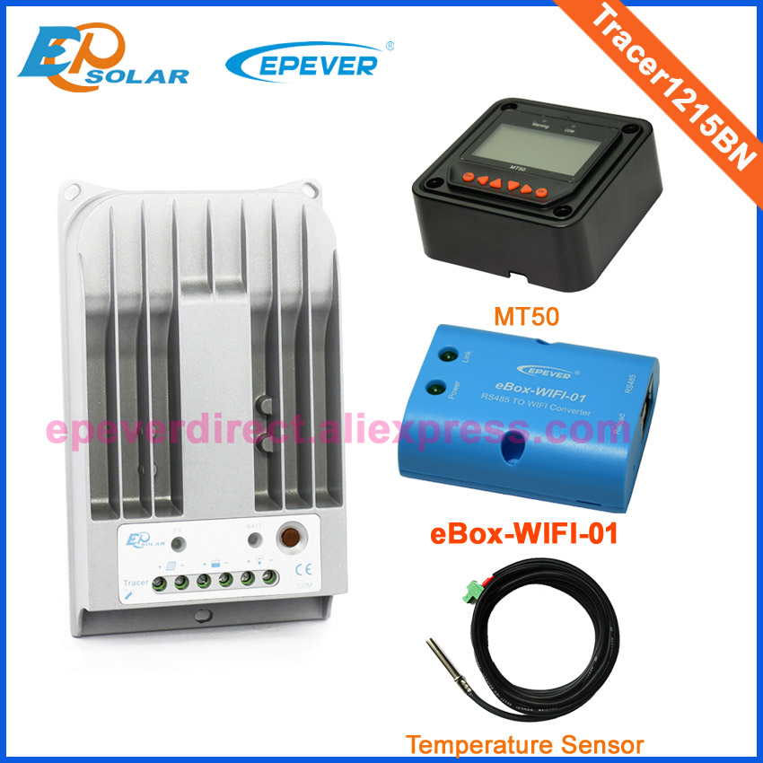 24V controller 10A wifi box and temp sensor Tracer1215BN MPPT EPEVER Max 24V 260W solar panels MT50 Meter solar controller 10A mppt epever solar regulator controller wifi box 12v 24v auto work tracer1215bn 10a with mt50 and usb