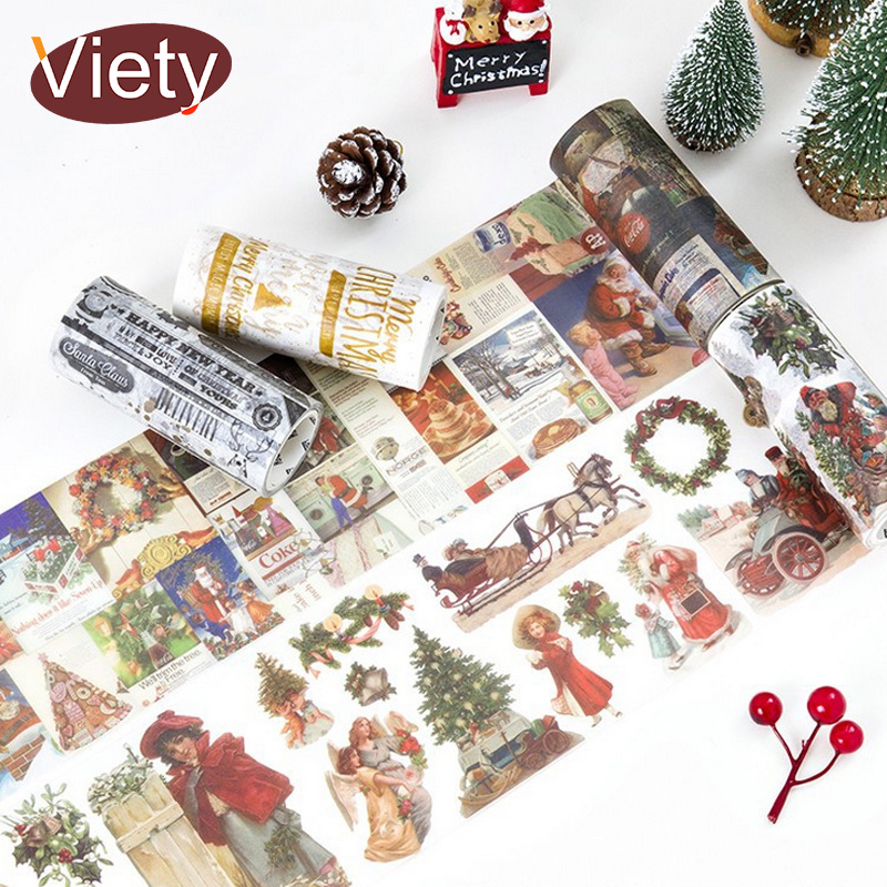 10cm*5m Vintage Christmas washi tape DIY decoration scrapbooking planner masking tape adhesive tape label sticker stationery 3 5 4cm 5m beautiful fairy tale horse washi tape diy decoration scrapbooking planner masking tape adhesive tape label sticker