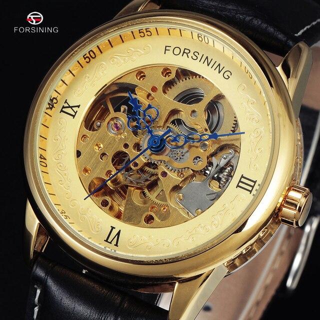 f0025c076a9 Nova FORSINING Luxo Marca Men Masculino Russo Ouro Esqueleto Automático  Relógio Ocasional Pulseira De Couro Relógios