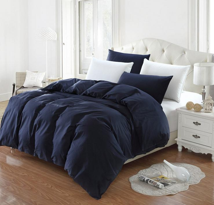 Dark blue Solid color twin full queen king size duvet cover comforter cover quilt cover bedding Home Textiles cotton Duvet Cover