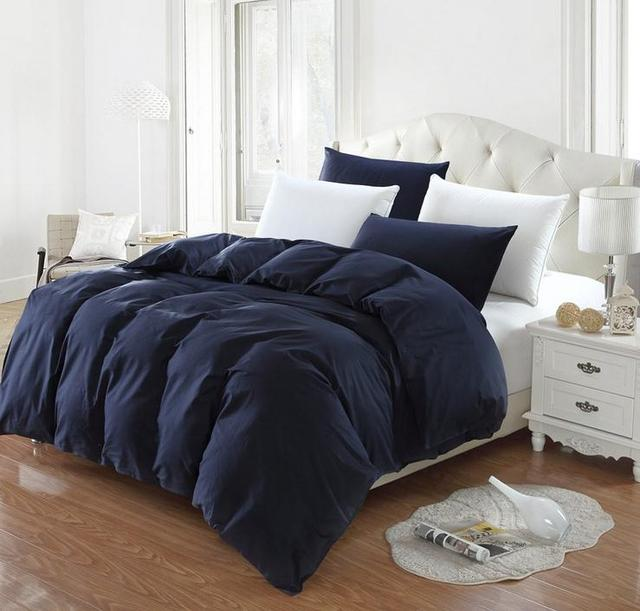 Dark Blue Solid Color Twin Full Queen King Size Duvet Cover - Blue solid color king size comforter