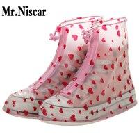Donne Piane Impermeabili Copriscarpe Addensare Wearable Scarpe Da Pioggia Copre Corsa Esterna Shoescovers Cuore Rosso