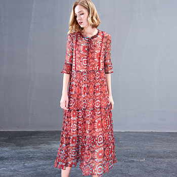 floral silk dress tube maxi plus size women boho beach long dresses 2019 summer rockabilly robe Bohemia fem me sexy red loose