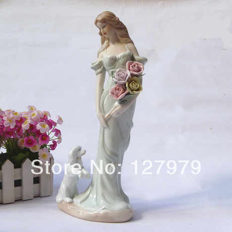 Modern home furnishing decoration ceramic crafts porcelain home decor flower girl and a lovely dog Wedding gift figure Ornament