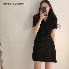 Women Summer Dress 2019 Double Breasted Blazer Black Korean Style Short Sleeve A Line Slim For