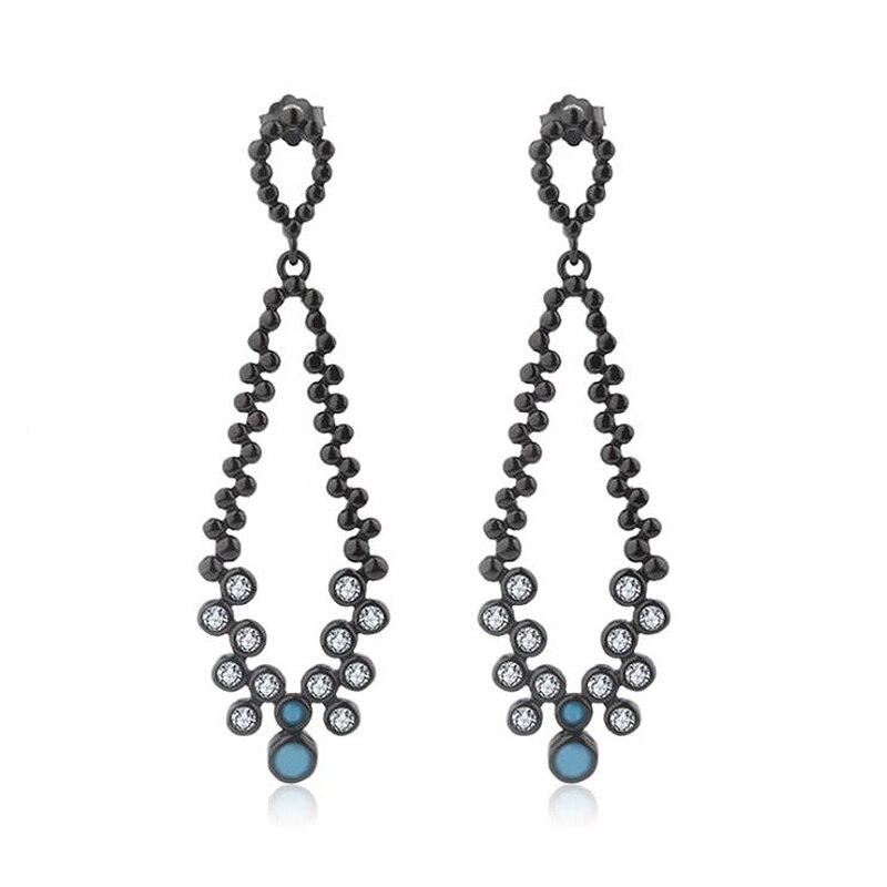 Ruifan European Black 925 Sterling Silver Long Drop Earrings Turquoise Cubic Zirconia Bohemia Earrings for Women Female YEA159 все цены