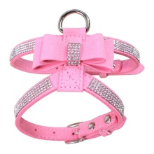 Fashionable rhinestones leather yorkie harness leash