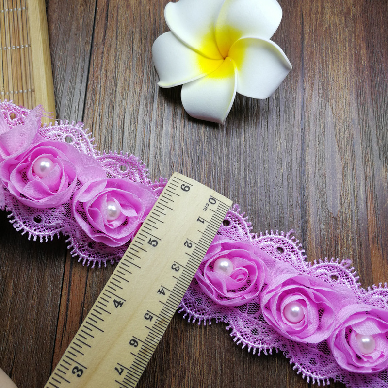 1 Yard 4 5cm Width 3D Chiffon Rose Flower Embroidered Lace Trim Ribbon Fabric DIY Sewing Craft Costume Supplies in Lace from Home Garden