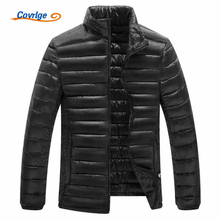 Covrlge 2017 Men's Parka Solid Color Stand Couples Thin Christmas Coats Winter Jacket Free Shipping Man Clothing L-4XL MWM056