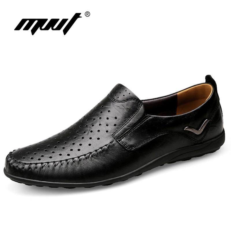 2017 Summer Breathable Men Casual Shoes Genuine Leather Shoes Men Comfortable Loafers for Men Flats Plus Size Men S
