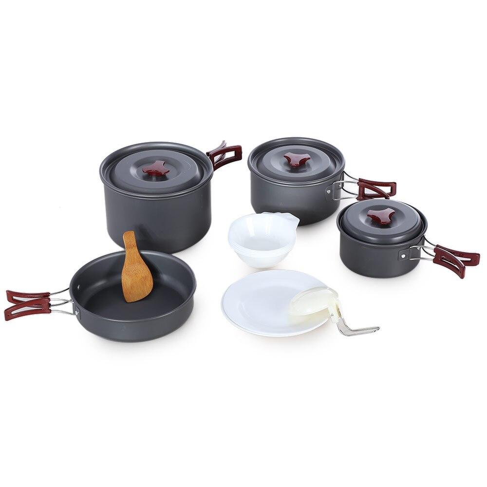 Batterie de cuisine extérieure en alliage d'aluminium portable randonnée Pot ensemble vaisselle casserole antiadhésive Camping pliable pique-nique pour 3-5 personnes Z30