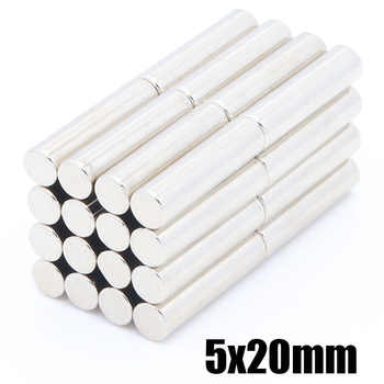 50pcs long cylindrical rod magnet 5*20 mm rare earth N35 magnet strong magnet neodymium iron boron magnet 5x20 mm - DISCOUNT ITEM  29% OFF All Category