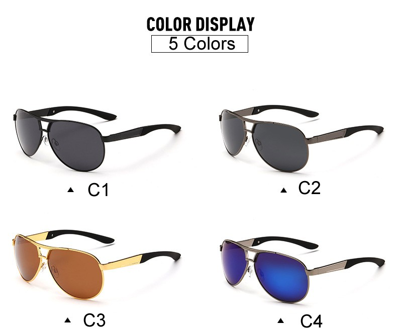 Polarized Aviator Sunglasses Brown Black Blue