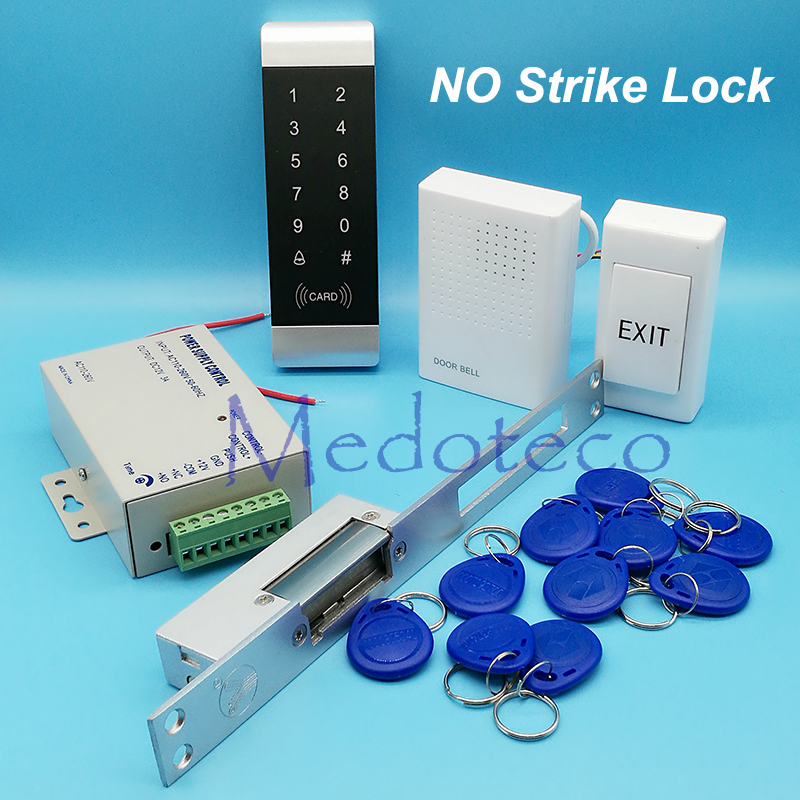 125khz Rfid Access Control System Kit Narrow Door Touch keypad Access Control+NO Electric Strike Lock +Access Power Supply diy waterproof 125khz rfid door access control kit set electric strike lock 10 rfid card outdoor touch keypad access control