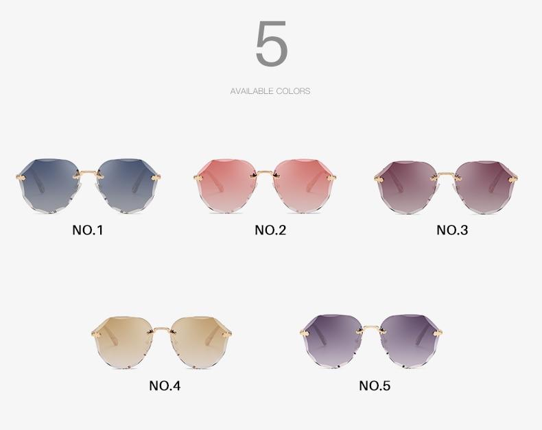 AEVOGUE Sunglasses For Women ladies Rimless Diamond cutting Lens Brand Designer Ocean Shades Vintage Sun Glasses AE0637