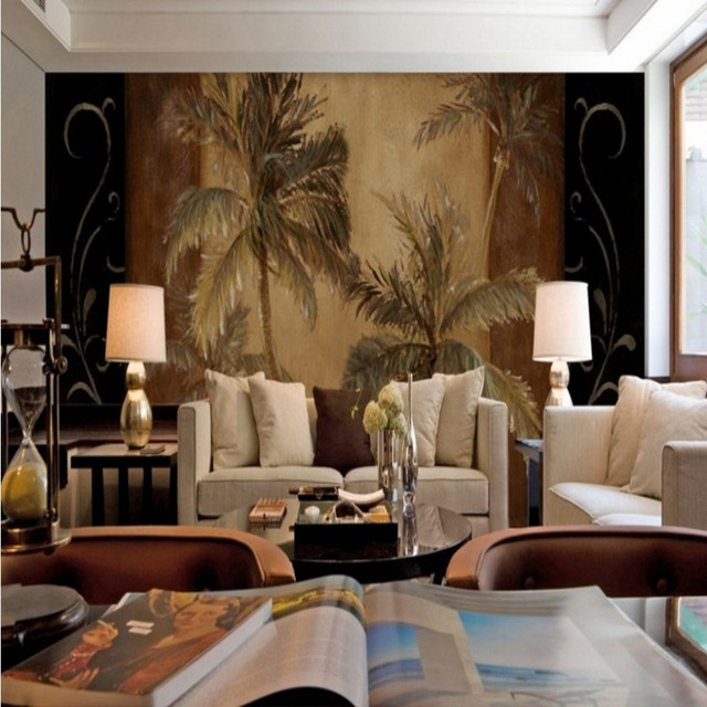 Southeast Asian Style Tropical Coco Palm Tree Oil Painting Wallpaper  Bedroom Sofa Background Restaurant Murals Wallpaper