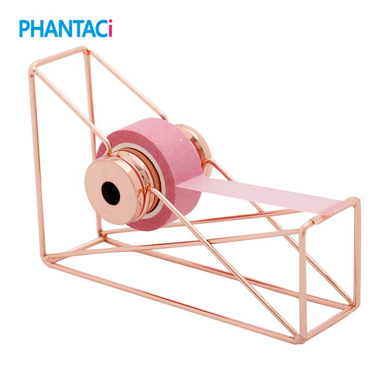 High Quality Rose Gold Metal Tape Dispenser Small Mini Washi Tapes Storage Organizer Cutter Tool Stationery Office School Supply