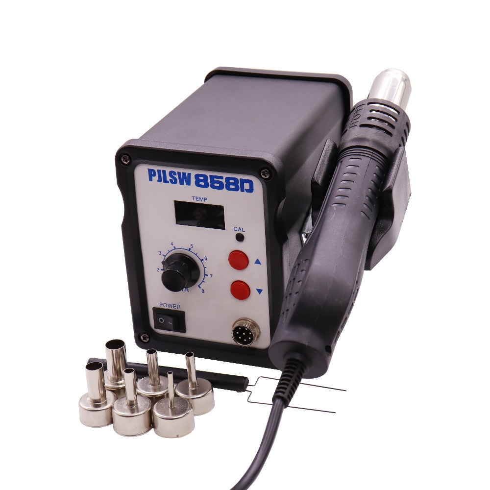 Hot Air Gun 700W 858D+ ESD Soldering Station Digital Desoldering Station 7 Air nozzles Heating core hot air gun host does not include accessories 700w youyue 858d esd soldering station heat gun desoldering station host