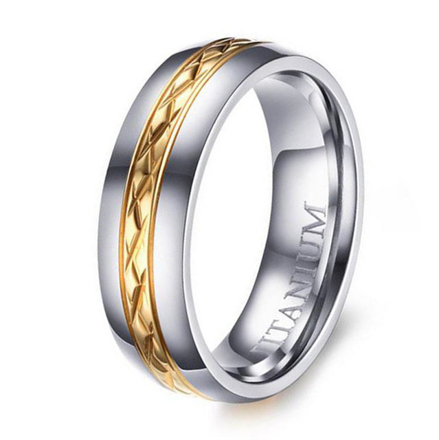 6MM Women s New Titanium Wedding Band Ring Gold Line Center Polished     6MM Women s New Titanium Wedding Band Ring Gold Line Center Polished Domed  Ring Comfort Fit