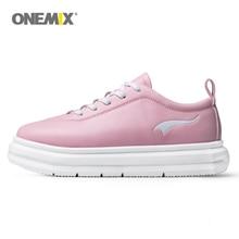 Onemix/женская спортивная обувь для девочек; уличная спортивная обувь; микро ткань; кожа; Легкие женские прогулочные женские кроссовки; цвет розовый, желтый