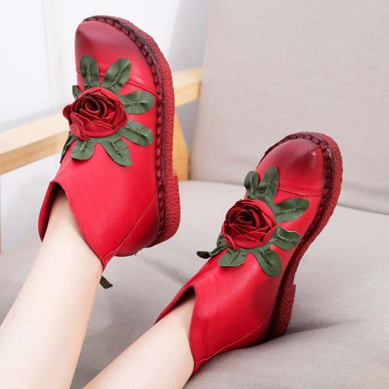 Женские Натуральная кожа зимние теплые ручной работы на низком каблуке в винтажном стиле с цветочным принтом обувь короткие сапоги женские...