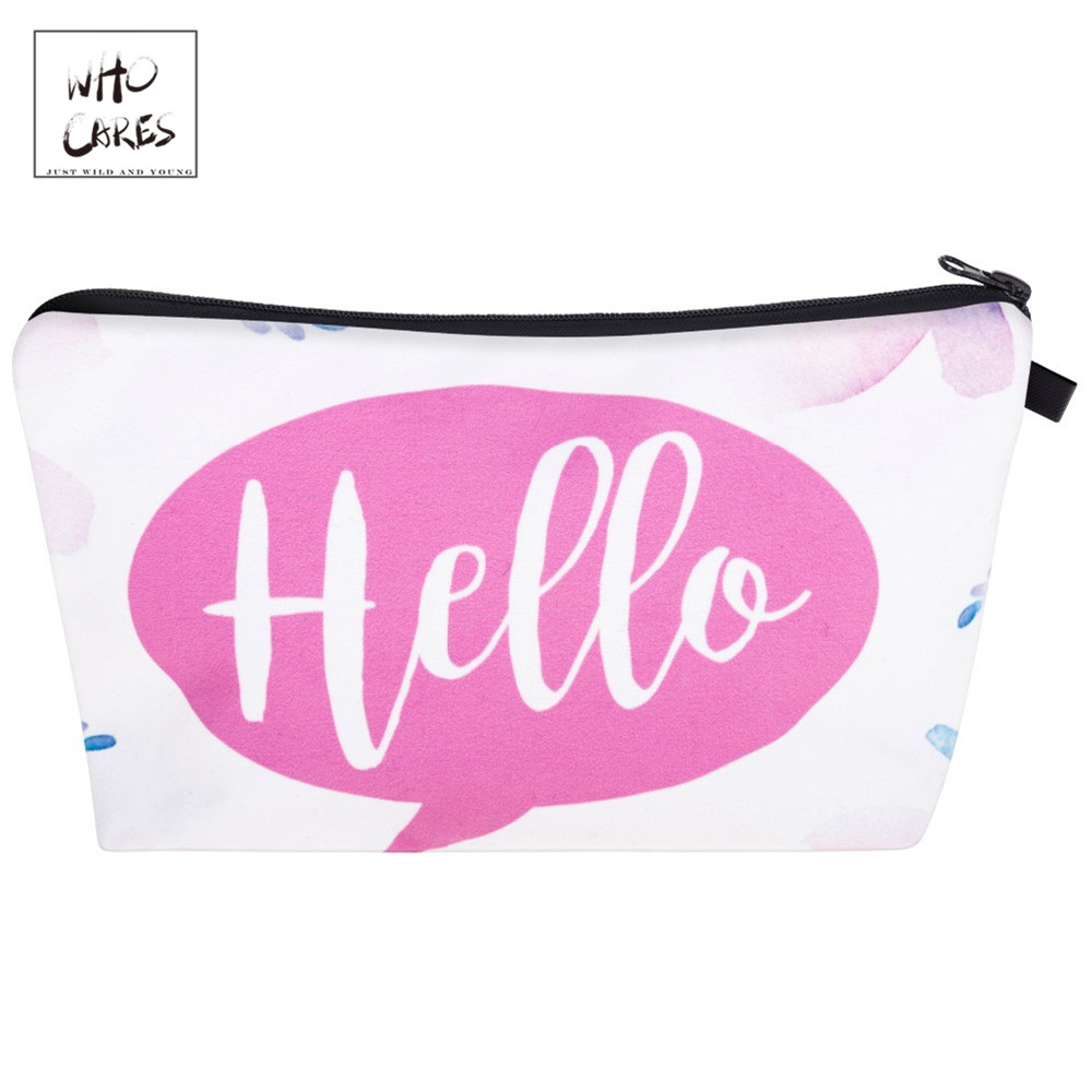Who Cares Fashion Cosmetic Organizer Bag Lady 3d Printing  Makeup Bags Ladies Pouch Women Cosmetic Bag