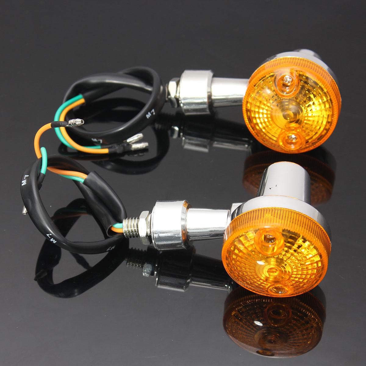 2pcs Chrome Universal Motorcycle Turn Signal Light Indicatior Amber Bulb 12V