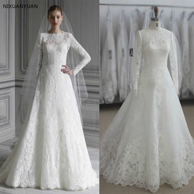 b75f5e4260d Элегантный с длинным рукавом мусульманское подвенечное платье 2019 простой  белый Винтаж кружевное свадебное платье высокое средства