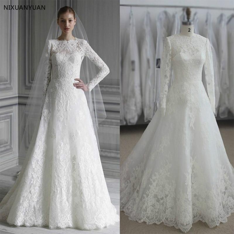 Elegant Long Sleeve Wedding Dress Muslim Dress 2020 Simple White Vintage Lace Bridal Gowns High Neck Vestido De Noiva Princess