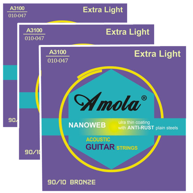 Amola A3100 .010-.047 Acoustic guitar strings Naboweb Anti-rust plain sreels bronze strings for acoustic guitar accessories