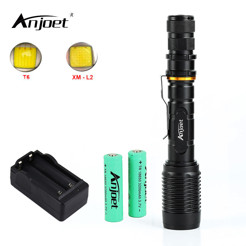 ANJOET Zoomable LED Flashlight XML T6 / L2 Torch Lighting 5 Mode 6000 LM Tactical Flashlight + Charger +18650 Battery 5000 lumen led flashlight cree xml t6 5 mode zoomable tactical torch flashlight with clamp 2 x 18650 battery 1 charger
