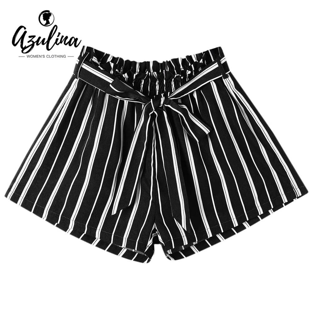 AZULINA WomenTie Belt Striped   Shorts   Elastic Waist Wide Leg Bowknot   Shorts   Casual Summer   Shorts   2018 New Arrival   Short   Feminino