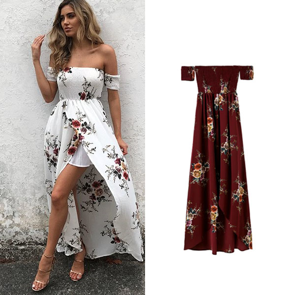 7ee1f090f2e1 Summer chiffon long dress off shoulder beach dresses floral print vintage  wrapped chest Bohemia style vestidos