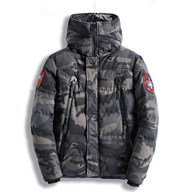 b15a9ae29d48d Baru Musim Dingin Jaket Pria Parka Jaket Pria Tebal Hangat Jaket Militer  Kamuflase Kerah Berkerudung Jaqueta