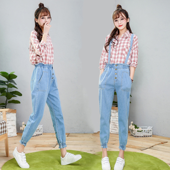 Summer Korean Cute Women Jean Overalls Plus Size Preppy Style Loose Denim Jumpsuits High Waists Removable Strap Long Pants plus size women in overalls