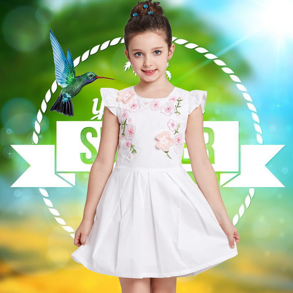 Princess Dress Girls Summer Dresses 2017 Brand Children Party Dress Floral Appliques Embroidery Robe Fille Kids Costumes Clothes fashion girls dresses summer brand princess dress girl clothes floral print robe fille enfant kids dresses child costumes ld 015