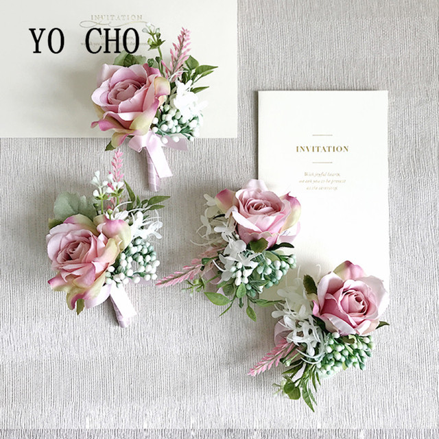 Yo cho pink greenery hand flowers silk rose party corsages prom yo cho pink greenery hand flowers silk rose party corsages prom bride groom wedding boutonnier berries mightylinksfo