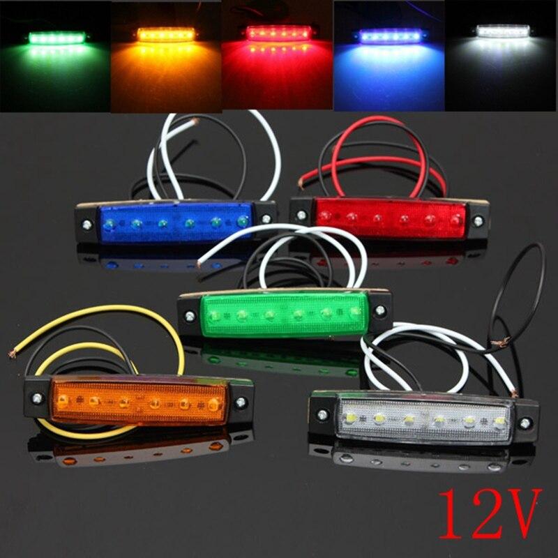 Hot 12V 6 LED Car Bus Truck Trailer Lorry Side Marker Indicator Light Brake Signal Lamp 5 Color Blinker Light