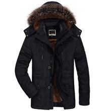 겨울 자켓 남자 모피 칼라 두꺼운 캐주얼 코튼 재킷 바람막이 플러스 벨벳 파커 크기 6xl 망 겨울 긴 오버 코트