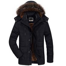 Chaqueta de invierno con cuello de piel para hombre, chaqueta gruesa informal de algodón, cortavientos, Parkas de terciopelo, talla 6XL, abrigo largo de invierno