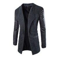 New Winter Fashion 2015 Leather Sleeve Long Wool Men Coat Hot Casual Slim Fit Men Jacket