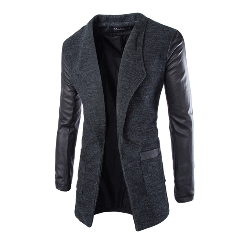 New Fashion Winter Leather Sleeve Long Wool Men Coat Hot Casual Slim Fit Men Jacket Coat Patchwork Solid Long Men Outwear