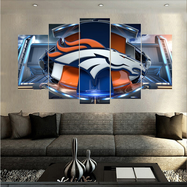 Newest Printings Denver Broncos Logo Paintings Wall Art Home Decoration Unframed Canvas Oil Painting For Living