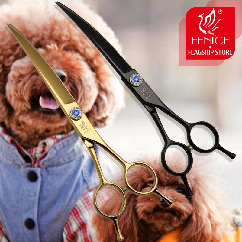 Fenice 7.0 / 7.5 인치 일본 440C 애완 동물 개 머리 가위 곡선 절단 칼날 25도 황금과 검은 색 가위를 손질