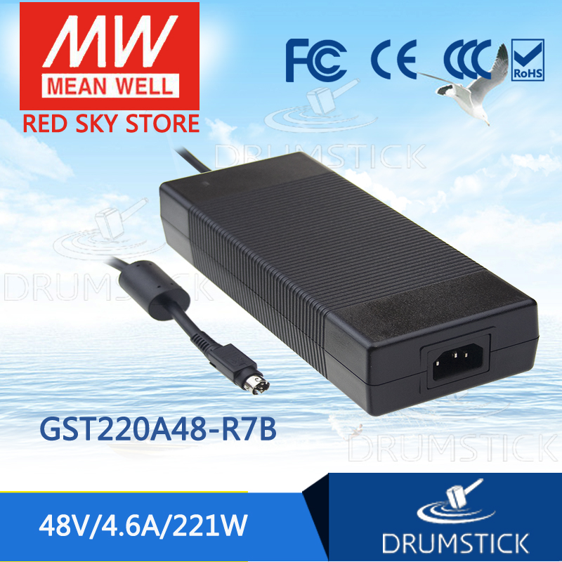 100% Original MEAN WELL GST220A48-R7B 48V 4.6A meanwell GST220A 48V 221W AC-DC High Reliability Industrial Adaptor 1mean well original gsm160a24 r7b 24v 6 67a meanwell gsm160a 24v 160w ac dc high reliability medical adaptor