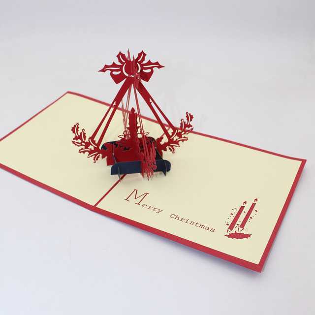 3d Handmade 2019 Merry Christmas Red Candle Paper Greeting Cards
