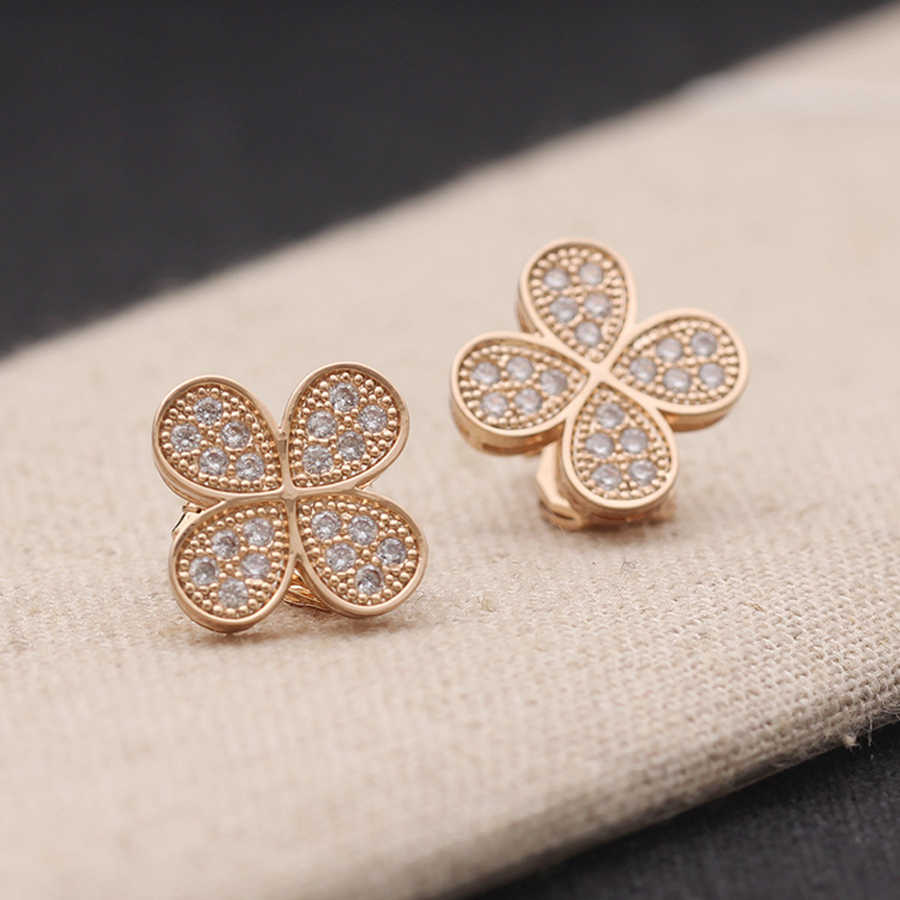IDESTINY 11.11 Fashion Clover Design Clip On Earrings for No Pierced Hole Ears Women Jewelry Micro Paved with AAA Cubic Zircon