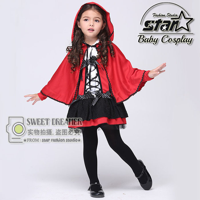 Girls Little Red Riding Hood Dress Costumes Halloween Christmas Cosplay Carnival Show Costume Role-playing With Cloak Uniform rdr cd [green a1 ] little red riding hood